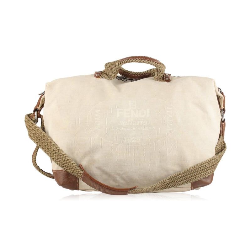 Selleria Beige Logo Weekender Travel Bag Opherty & Ciocci