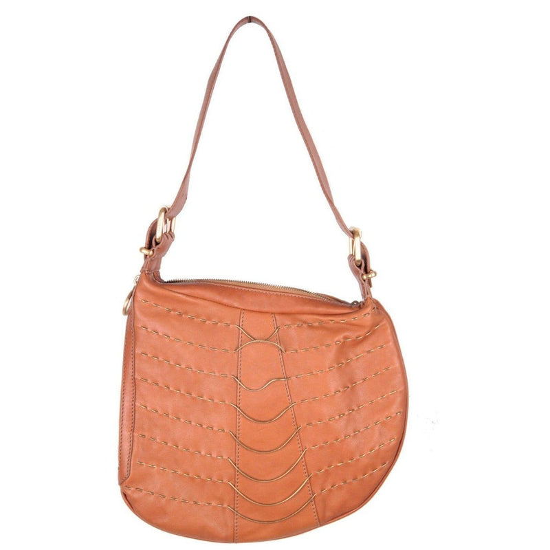 Fendi Tan Leather Oyster Bag Shoulder Bag Hobo Metal Snake Chains Opherty & Ciocci