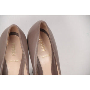 Fendi Taupe Leather Rubber Cap-Toe Pumps Shoes Heels Size 36 1/2 Opherty & Ciocci