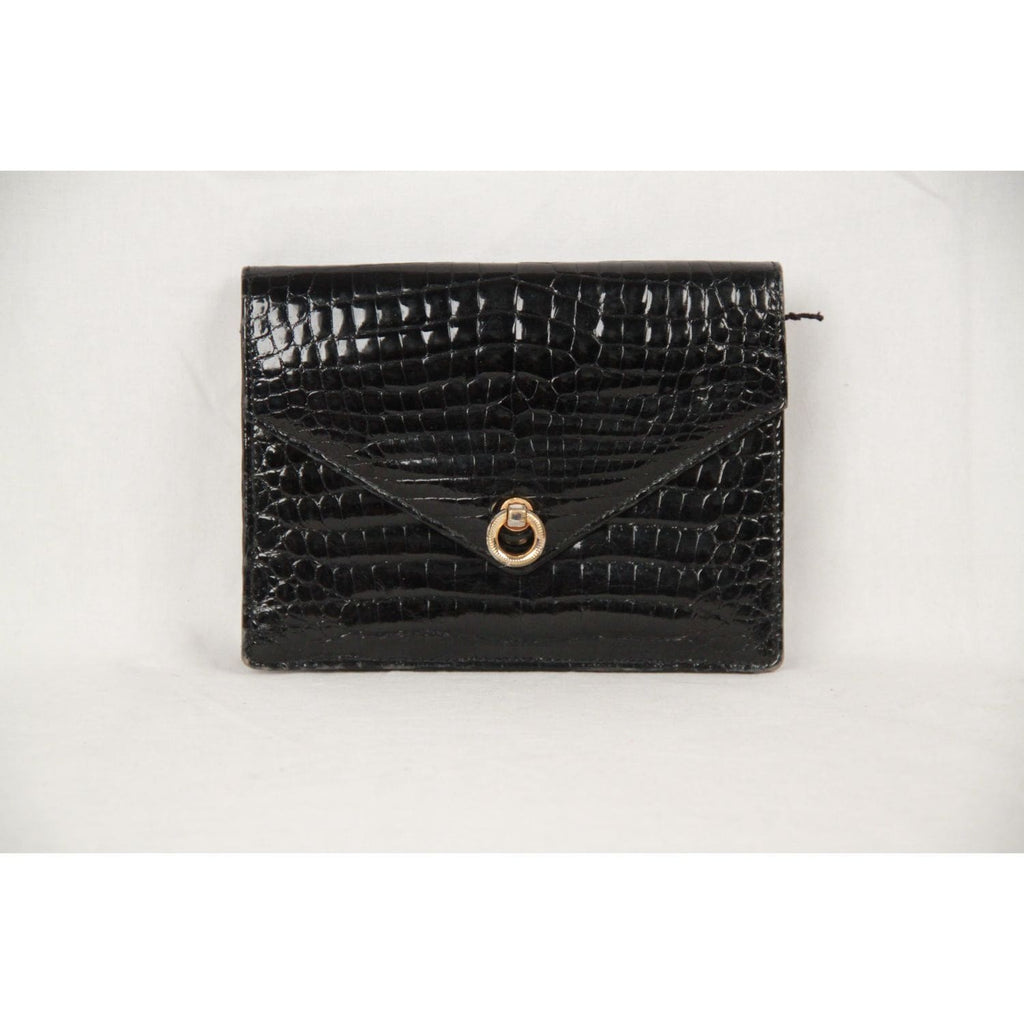 Fendi Vintage Black Crocodile Leather Clutch Handbag Flap Purse Opherty & Ciocci