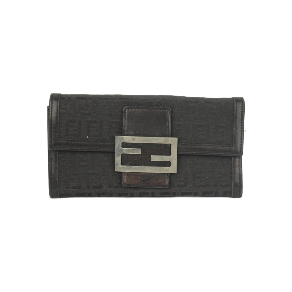 FENDI VINTAGE Monogram Canvas & Leather WALLET Coin Purse