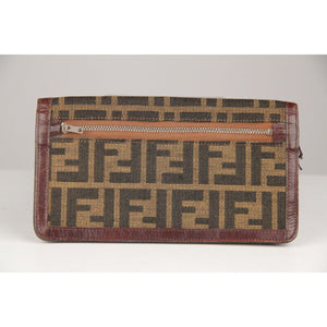 Fendi Vintage Zucca Canvas Ff Monogram Long Bifold Wallet Opherty & Ciocci