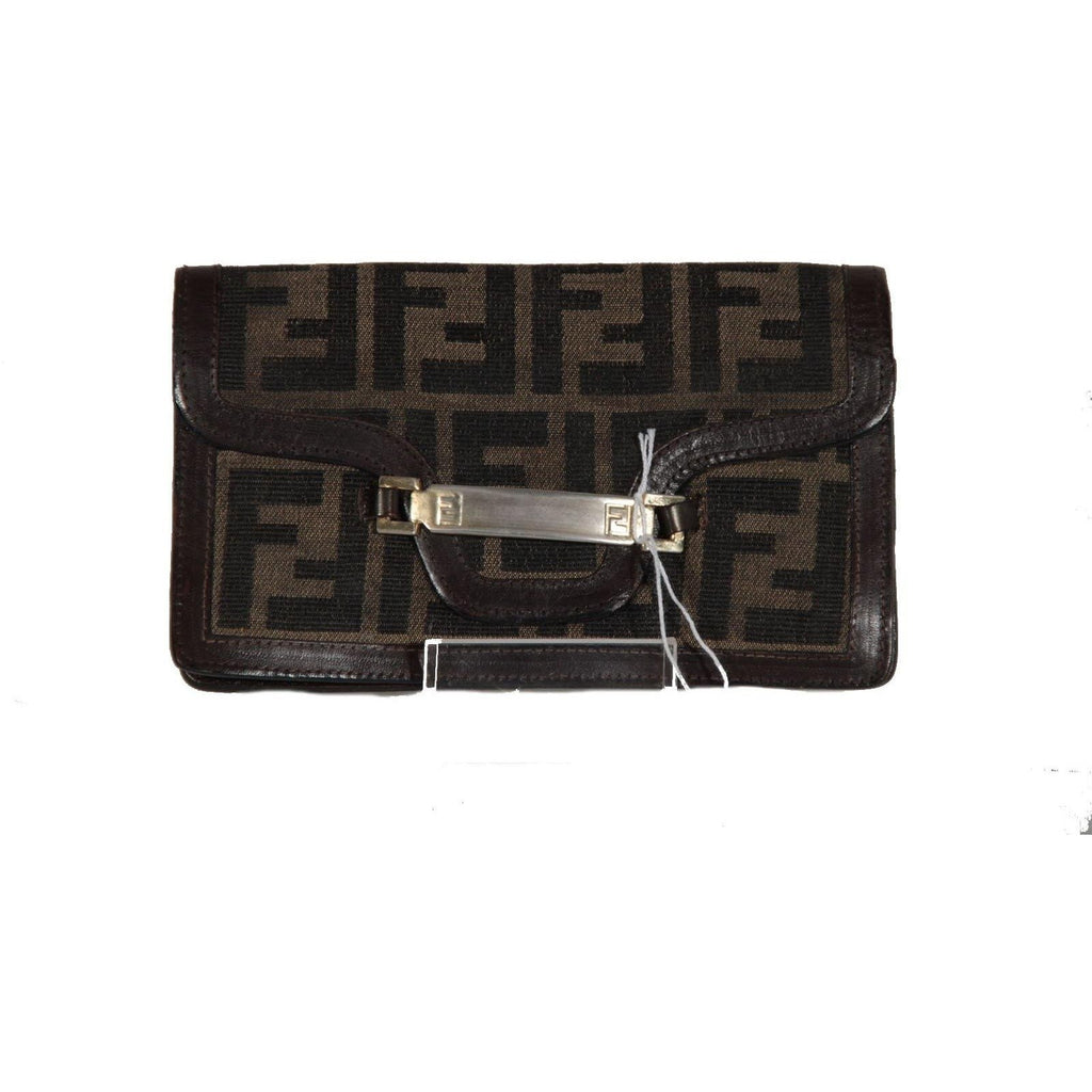 ZZ_FENDI Italian VINTAGE Zucca Canvas & Leather FF MONOGRAM WALLET Coin Purse AS - OPHERTYCIOCCI