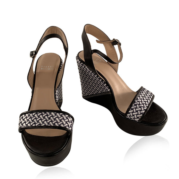 Stuart Weitzman Black Holiday Pipe Woven Wedge Shoes Size 38.5