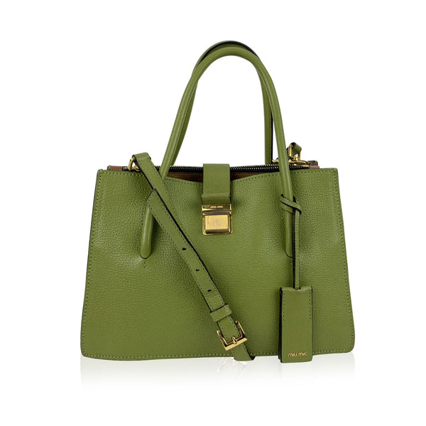 Miu Miu Green Madras Leather Tote Shoulder Bag R1104C