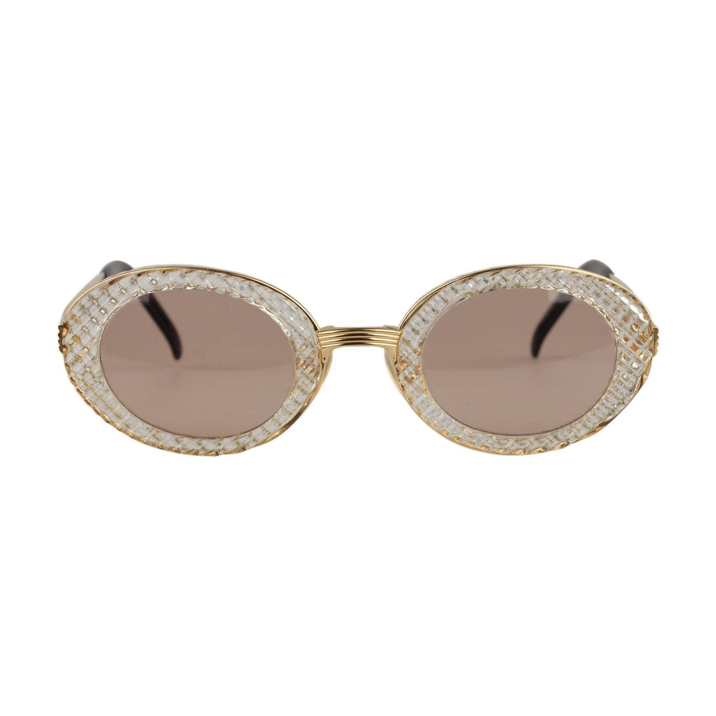 Jean Paul Gaultier Vintage Gold Oval Sunglasses 56-5201