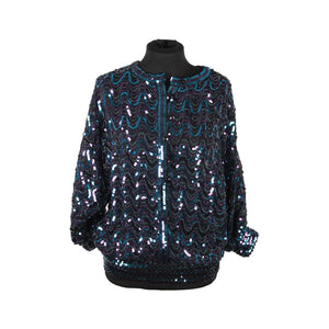 Fink Modell Vintage Turquoise & Purple Sequinned Blouse Top Jacket Opherty & Ciocci