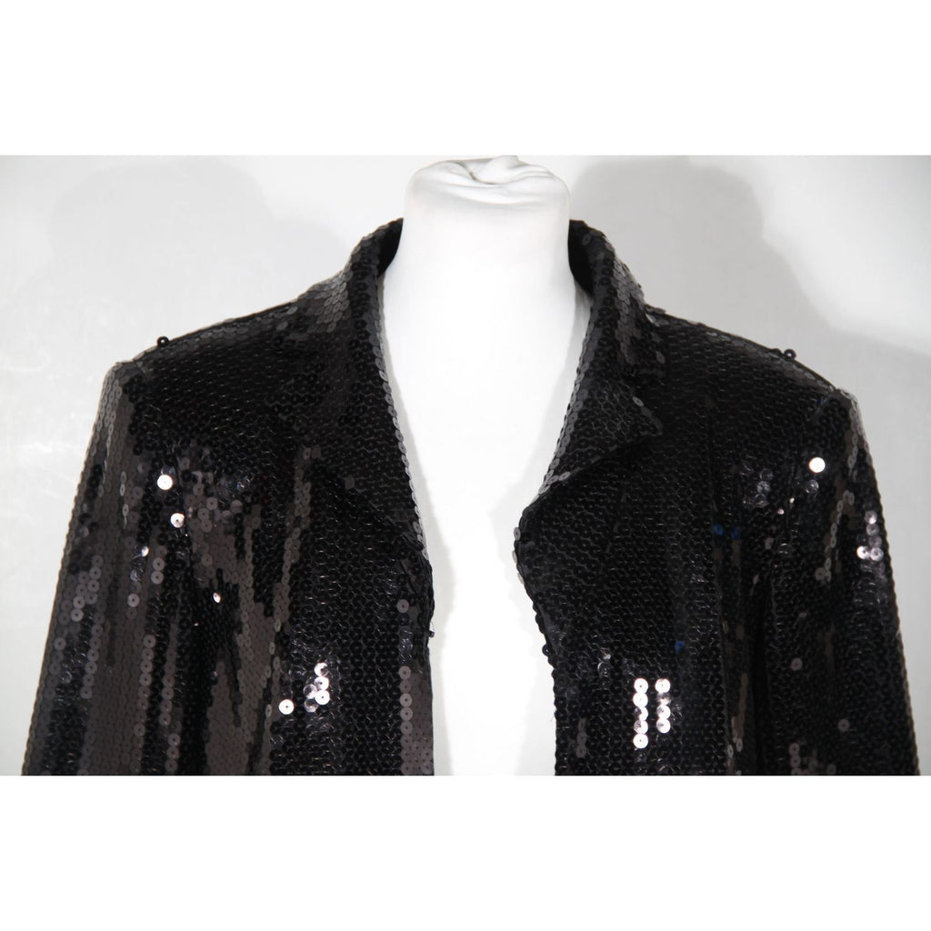 Frank Usher Black Sequin Open Front Jacket Size 14 Opherty & Ciocci