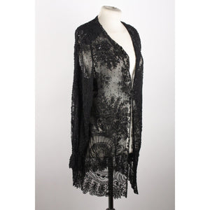 Vintage Black Embellished Beaded Shirt Opherty & Ciocci
