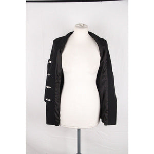Gai Mattiolo Couture Black Collarless Jacket W/ Embroidery Size 42 Opherty & Ciocci