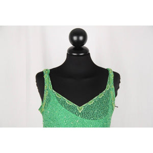 GAI MATTIOLO COUTURE Green BEADED SHELL TOP Sleeveless SIZE 44