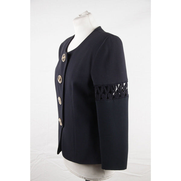 GAI MATTIOLO Navy Blue Collarless CUT OUT JACKET Anchor Buttons SIZE 44