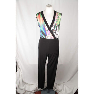 Gattinoni Black Jersey Fabric Jumpsuit Trousers Dress Size L Opherty & Ciocci
