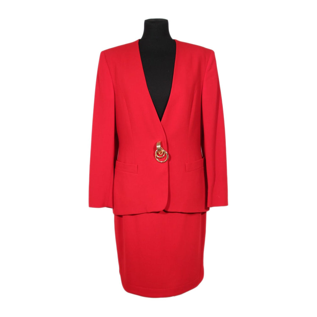 GENNY VINTAGE Red Wool SUIT Blazer And Pencil Skirt SET Sz 44 IT