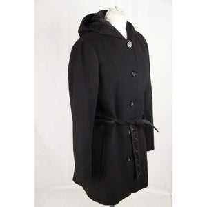 Geox Black Wool Blend Mid Lenght Jacket Coat Hooded Size 44 Opherty & Ciocci
