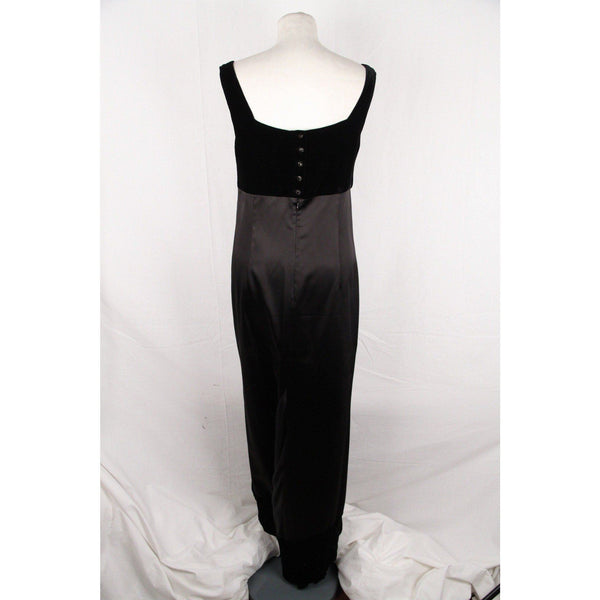 Gianfranco Ferre Black Satin Evening Dress Gown W/ Velvet Size 6 Opherty & Ciocci