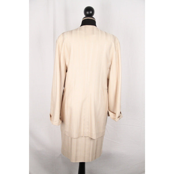 GIANFRANCO FERRE Vintage Beige Silk SUIT Blazer & Skirt SET Size 44
