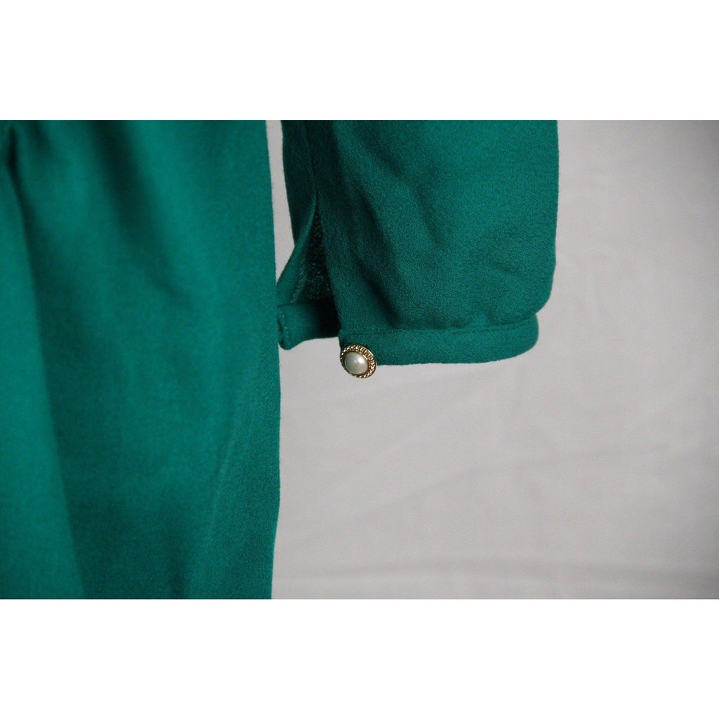 Gianni Tolentino Vintage Green Wool Button Front Dress Size 44 Opherty & Ciocci