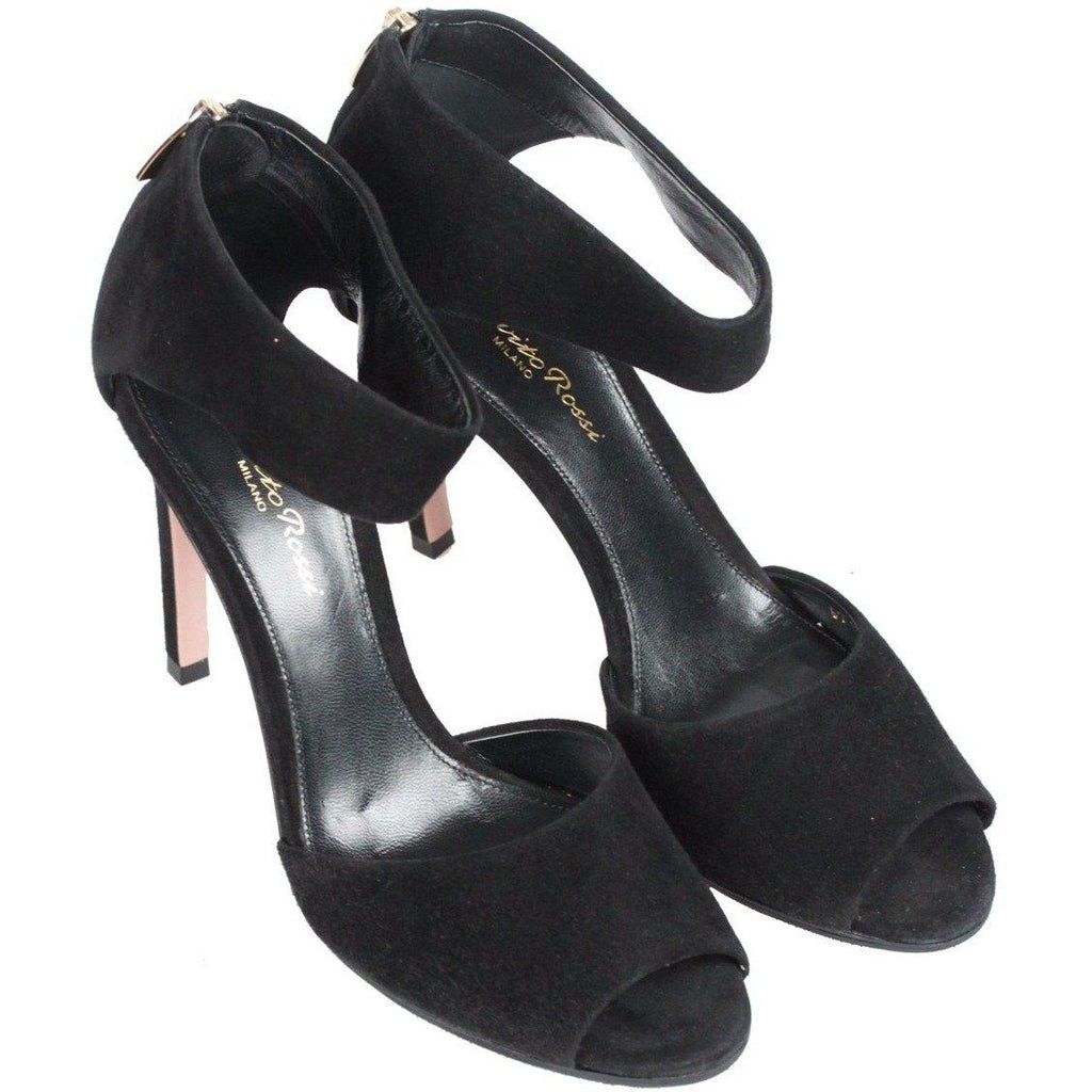 Gianvito Rossi Black Suede Open Toe Heels Shoes Size 37.5 Opherty & Ciocci