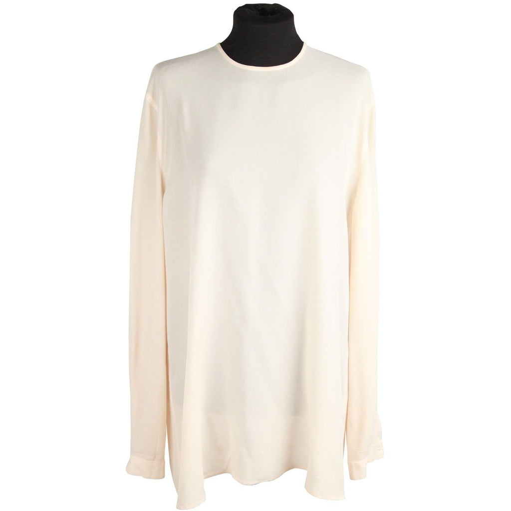 GIORGIO ARMANI BLACK LABEL Beige Silk BLOUSE Long Sleeve SIZE 44