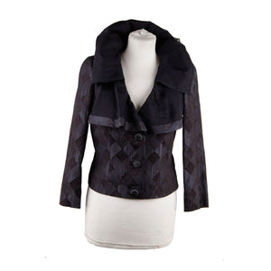 Giorgio Armani Black Label Blue Black Silk Blend Jacket Ruffle Collar Size 40 Opherty & Ciocci