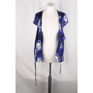 GIORGIO ARMANI Blue Silk Short Sleeve WRAP SHIRT Blouse SIZE 38
