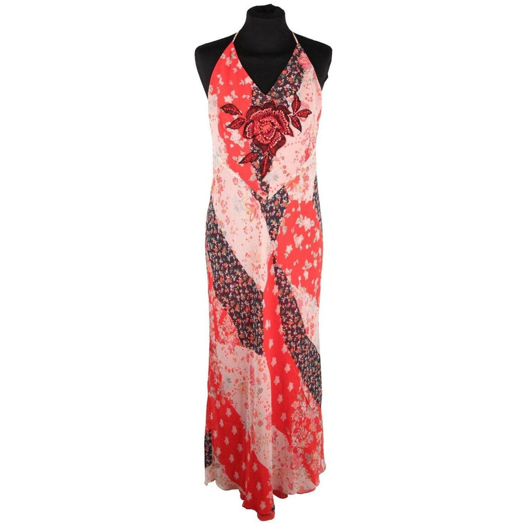 Giorgio Grati Floral Silk Long Halterneck Maxi Dress Size 42 Opherty & Ciocci