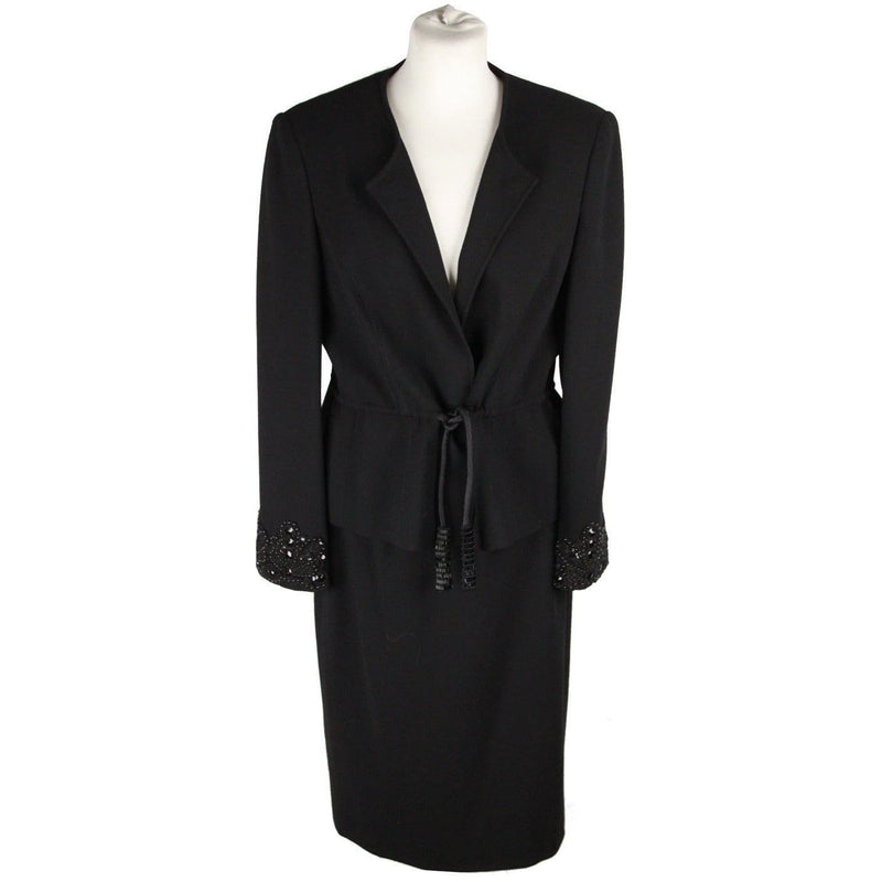 Giorgio Grati Vintage Black Wool Suit Jacket & Skirt W/ Beads Size 46 Opherty & Ciocci