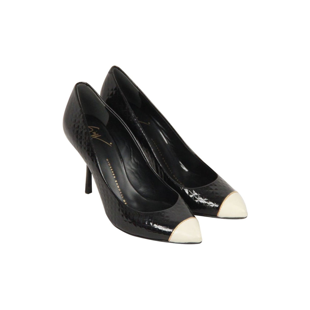 GIUSEPPE ZANOTTI DESIGN Black Textured Patent Leather CAP TOE PUMPS Size 36