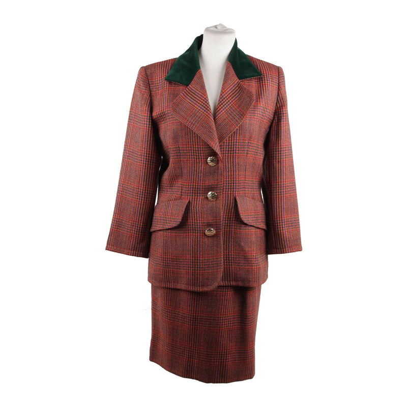 GIVENCHY COUTURE Vintage Multicolor Glen Plaid Wool SUIT Blazer And Skirt SET