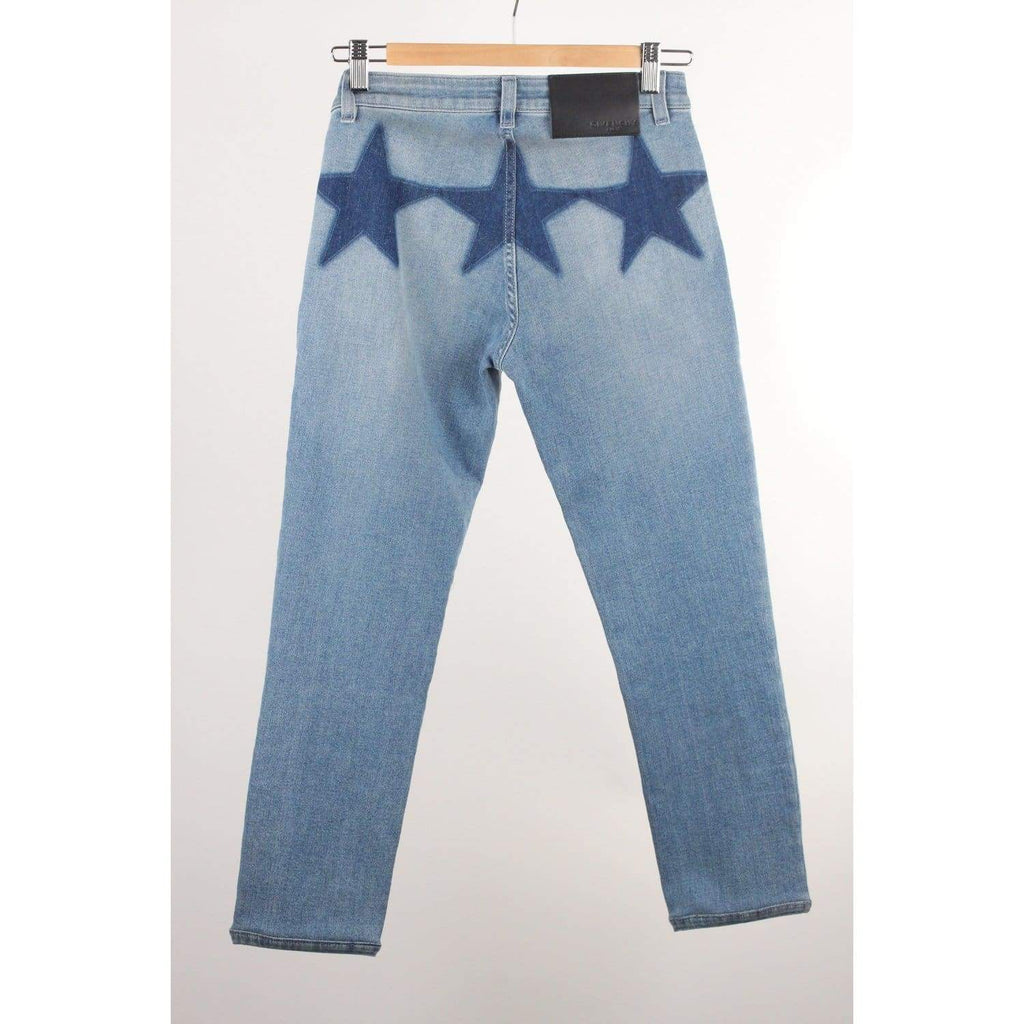 Givenchy Jeans Blue Cotton Denim Trousers Pants With Stars Size 36 Opherty & Ciocci