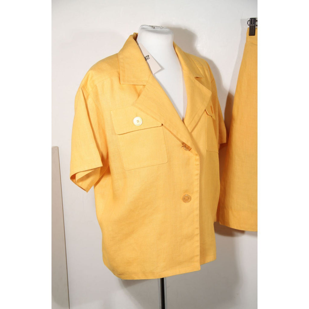 Givenchy Vintage Yellow Short Sleeve Jacket Shirt And Skirt Set Opherty & Ciocci