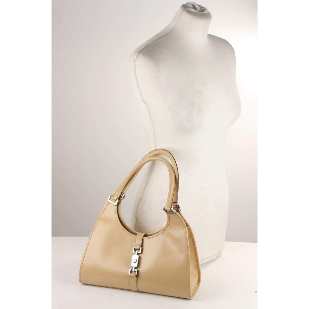 Beige Leather Stirrup Hobo Bag Opherty & Ciocci