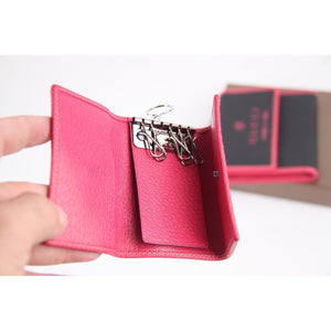 Gucci Black Canvas Pink Leather Wallet & 6 Key Ring Case Set Trademark Print Opherty Ciocci