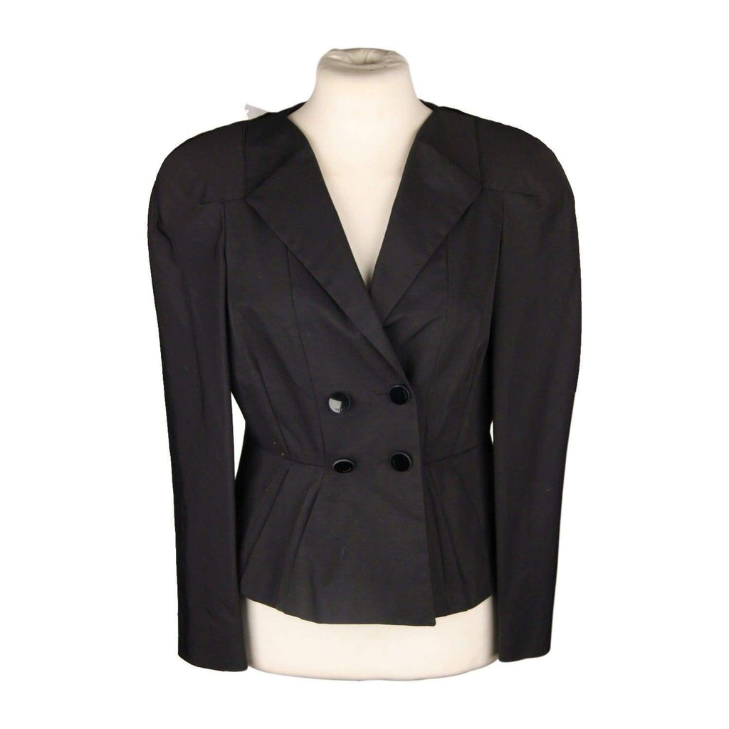 Gucci Black Double-Brasted Blazer Jacket With Peplum Hem Size 42 Opherty & Ciocci
