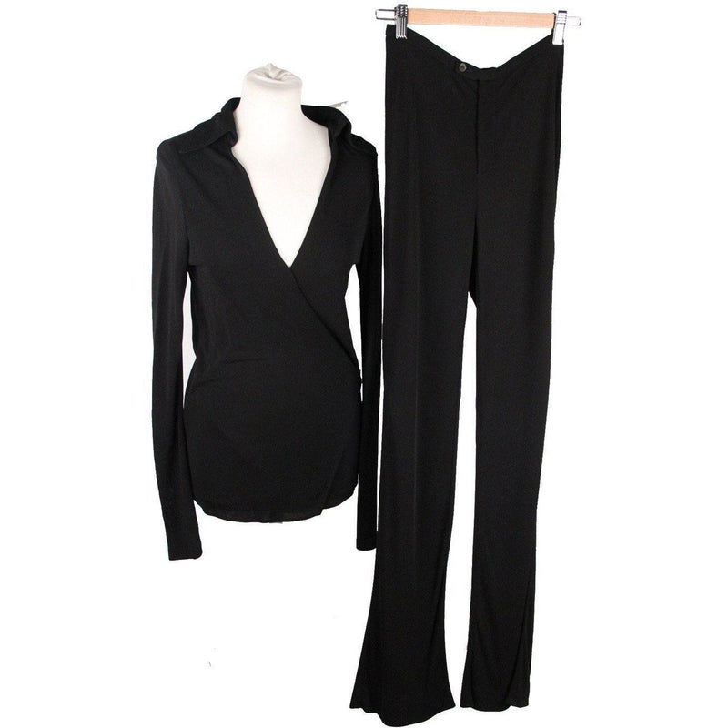 Gucci Black Jersey Co Ord Wrap Blouse & Flared Pants Set Size 40 Opherty Ciocci