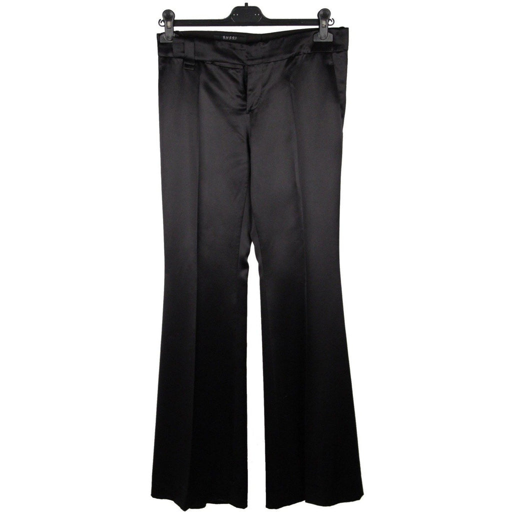GUCCI Black Silk FLARED TROUSERS Pants SIZE 42 - OPHERTYCIOCCI