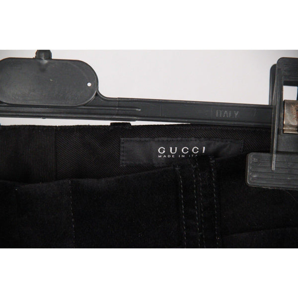 Gucci Black Velvet Trousers Pants W/ Crest Buttons Size 40 Opherty & Ciocci
