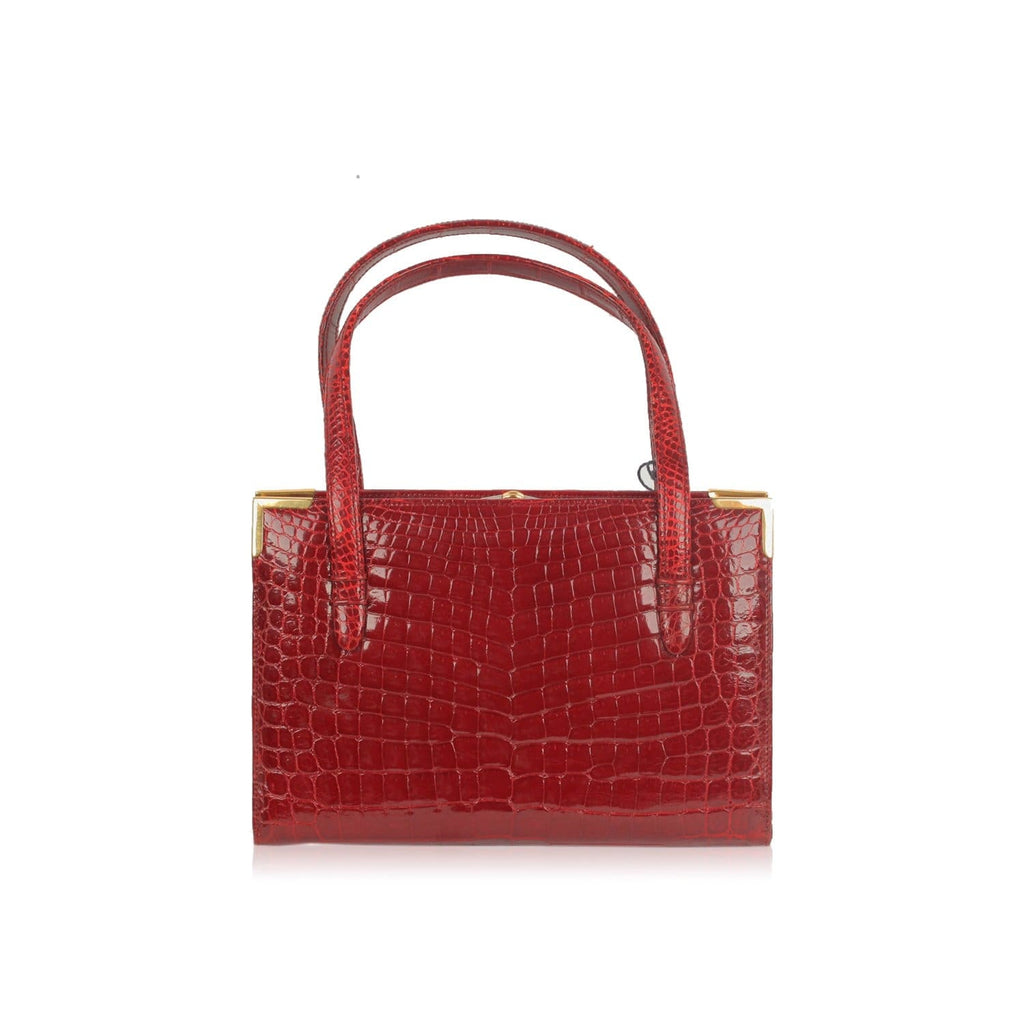 Burgundy Crocodile Handbag Top Handle Bag Opherty & Ciocci