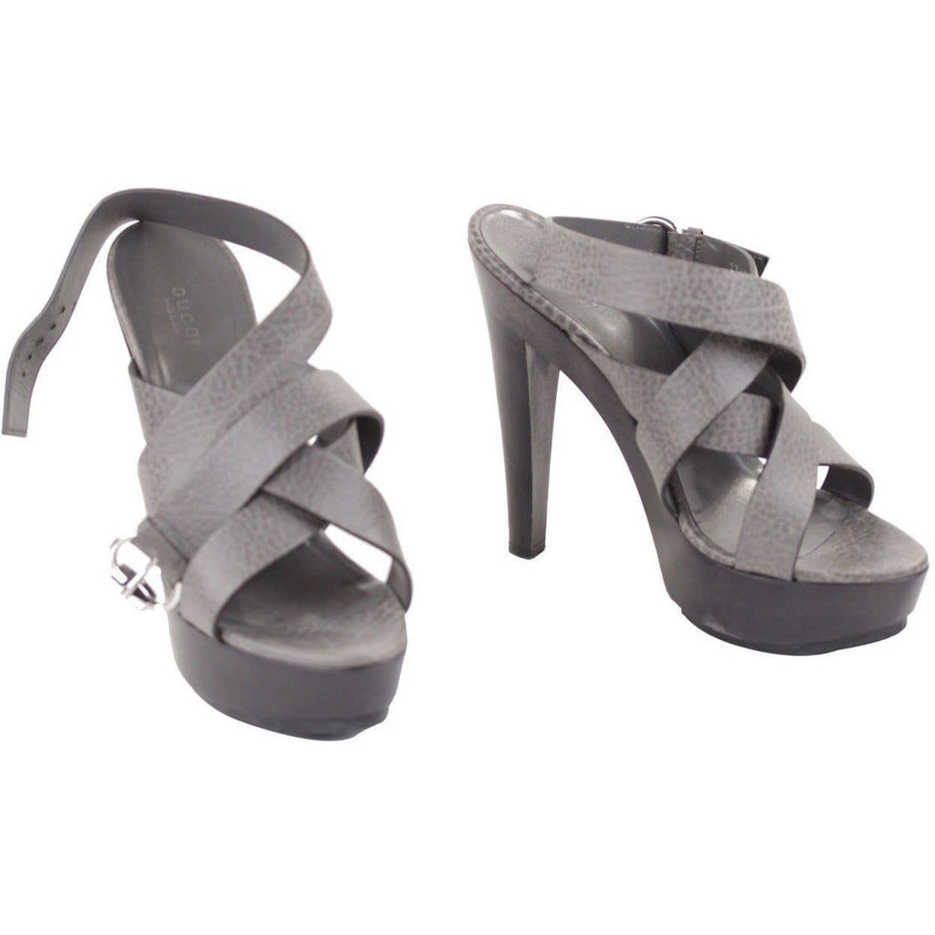 Gucci Gray Leather Ankle Wrap Strap Platforms Shoes Sandals Sz 39 Opherty & Ciocci