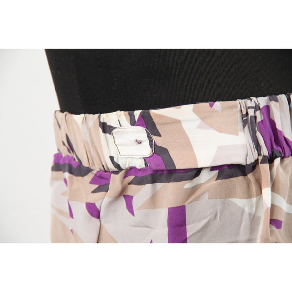 Gucci Gray & Purple Silk Bandeau Strapless Top Drawstring Hem 42 Opherty & Ciocci