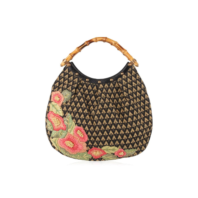 Limited Edition Raffia Flowers Canvas Bag Opherty & Ciocci