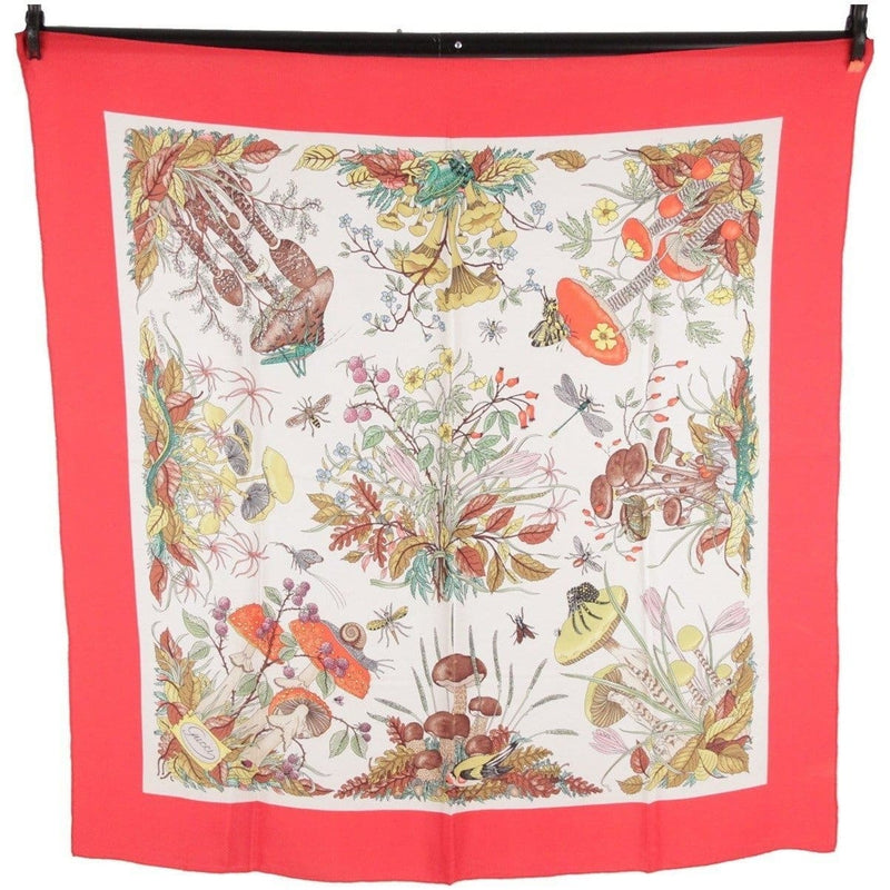 Gucci Silk Crepe Vintage Red Border Mushrooms Scarf Accornero Opherty & Ciocci