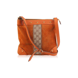 Suede And Monogram Canvas Shoulder Bag With Studs Opherty & Ciocci