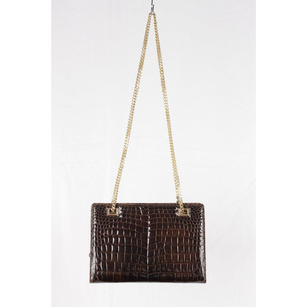 GUCCI VINTAGE Brown CROCODILE Leather SHOULDER BAG w/ Chain Straps
