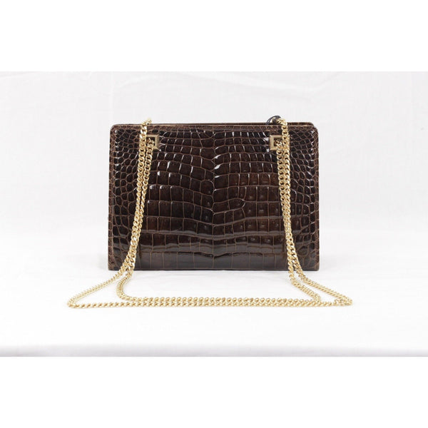 ZZ_GUCCI VINTAGE Brown CROCODILE Leather SHOULDER BAG w/ Chain Straps - OPHERTYCIOCCI