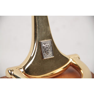 GUCCI VINTAGE Gold Metal Horsebit POCKET WATCH HOLDER Stand
