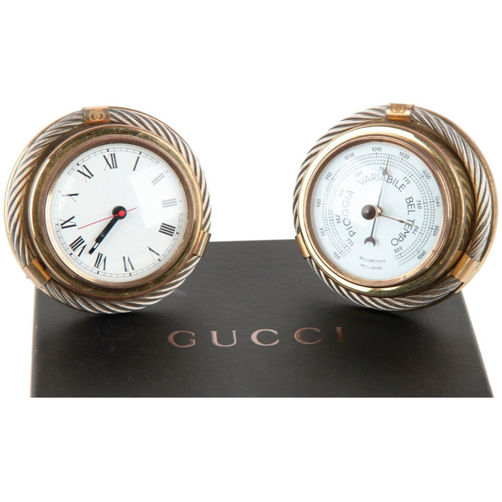 GUCCI Italian Gold Metal/Silver Round BAROMETER CLOCK SET Vintage Home Decor
