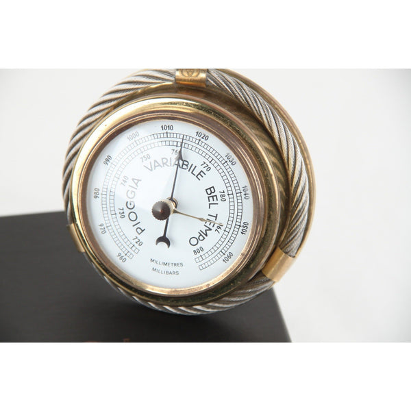 GUCCI Italian Gold Metal/Silver Round BAROMETER CLOCK SET Vintage Home Decor - OPHERTYCIOCCI