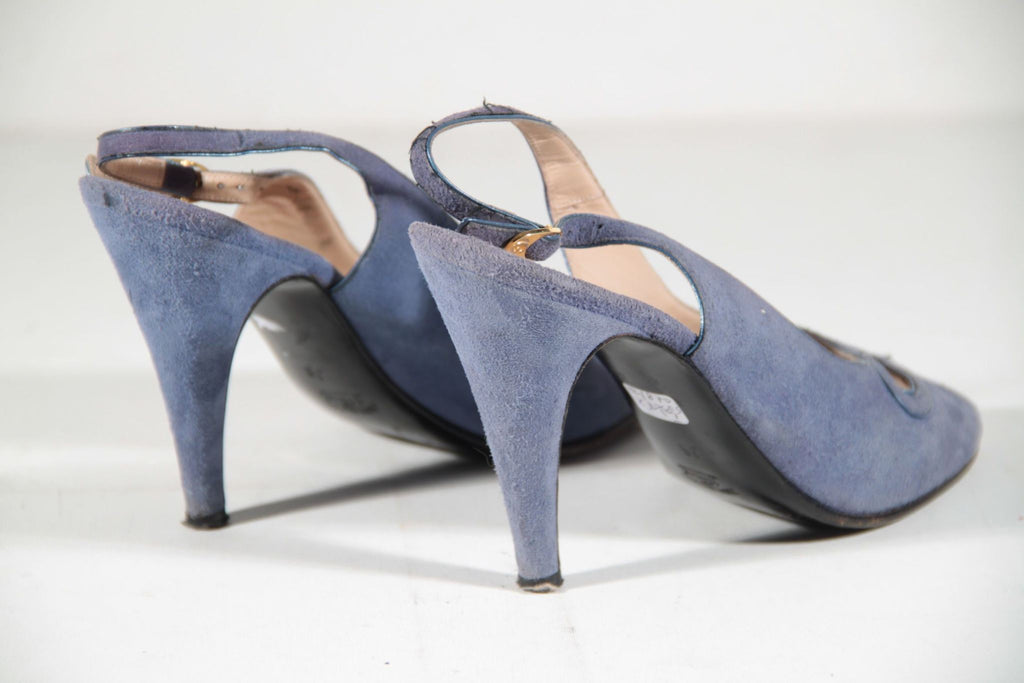 Gucci Vintage Light Blue Suede Slingback Shoes Heels Pumps Size 36 Opherty & Ciocci
